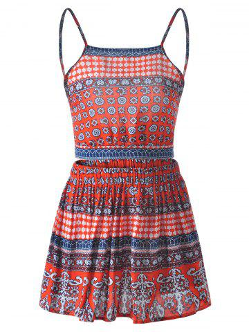 Outfit Spaghetti Strap Backless Top + Short Skirt Cinched Waist Printing Twinset For Women