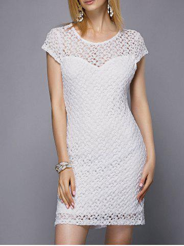Discount Stylish Scoop Neck Short Sleeve Cut Out Lace Dress For Women