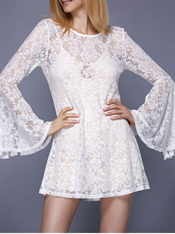 New Stylish Round Neck Bell Sleeve Lace Dress For Women