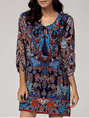Sale Vintage Style Scoop Neck 3/4 Sleeve Printed Dress For Women COLORMIX L