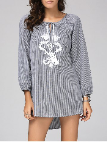 Sale Chic Scoop Neck Long Sleeve Striped Embroidered Blouse For Women
