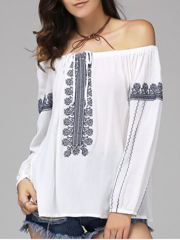 Latest Ethnic Style Off The Shoulder Long Sleeve Blouse For Women