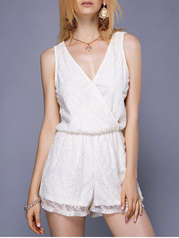 Best Stylish V-Neck See-Through Lace Romper For Women
