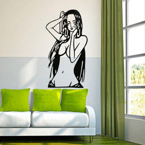 Fancy Creative Cartoon Beauty Girl Pattern Wall Sticker For Livingroom Bedroom Decoration BLACK
