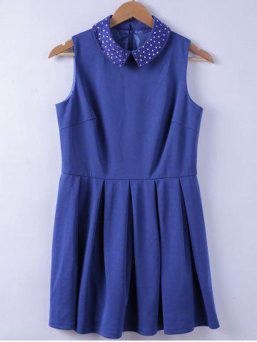 Chic Studs Embellished Turn-down Collar Blue A-line Dress For Women - BLUE XL