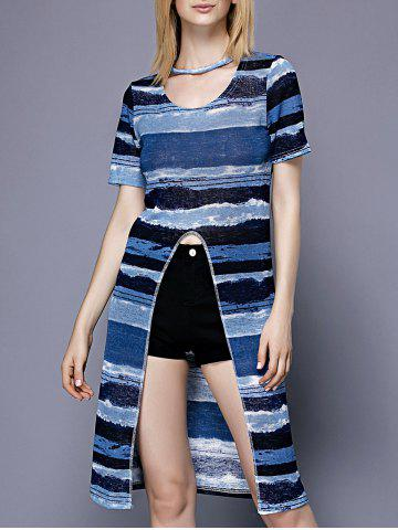 Fashion Trendy Scoop Neck Striped Slit Short Sleeve Women's Tee