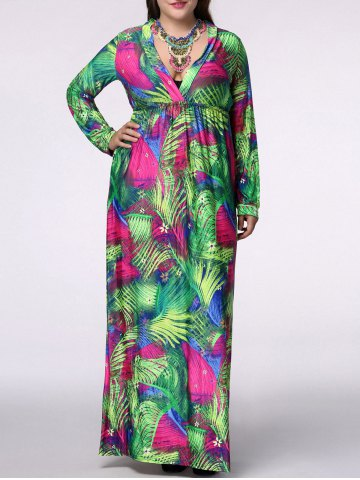 Buy Bohemian Plus Size Plunging Neck Long Sleeve Leaf Print Women's Maxi Dress