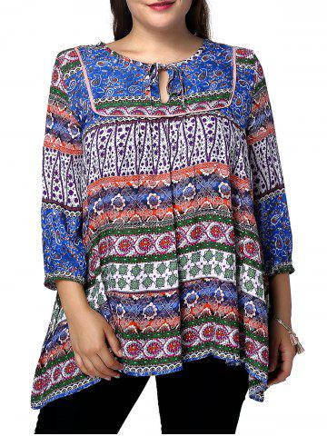 Hot Ethnic Plus Size Keyhole Neck 3/4 Sleeve Abstract Pattern Women's Blouse