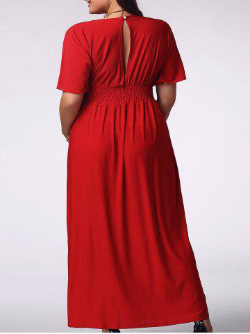 Outfits Elegant Plus Size Plunging Neck Short Sleeve Solid Color Women's Prom Dress RED 2XL