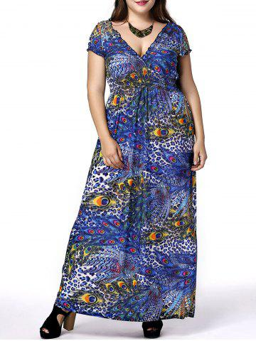 Discount Plus Size Phoenix Tail Print Maxi Dress BLUE 5XL