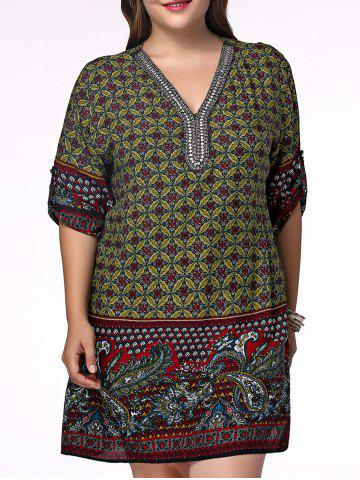 Shop Ethnic Plus Size V Neck Floral Print Rhinestoned Women's Blouse OLIVE GREEN XL