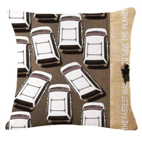Affordable Creative Traffic Jam Warning Pattern Square Shape Flax Pillowcase (Without Pillow Inner)