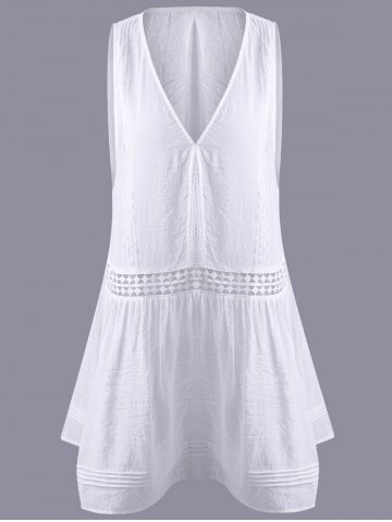 Online Fashionable Hollow Out Lace V-Neck Top For Women WHITE XL