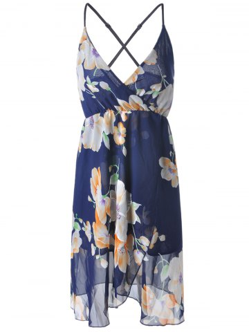 Shop Fashionable Floral Printing Cross Sraps High Waist Dress For Women