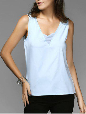 Cheap Chic V-Neck Sleeveless Spliced Chiffon Women's Tank Top