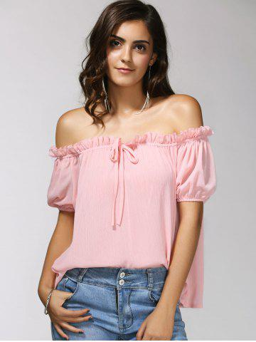 Latest Charming Off-The-Shoulder Puff Sleeve Bowknot Women's Blouse LIGHT PINK XL