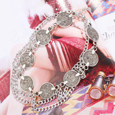 Fashion Retro Style Coin Tassel Charm Rhinestone Anklet - SILVER  Mobile