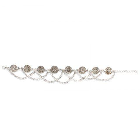 Affordable Retro Style Coin Tassel Charm Rhinestone Anklet - SILVER  Mobile