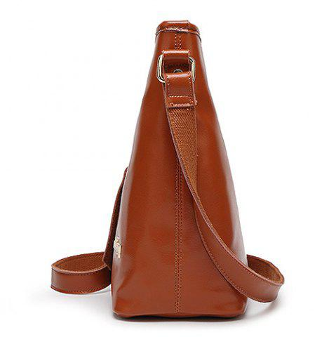 Sale Concise Letter and Solid Color Design Crossbody Bag For Women - BROWN  Mobile