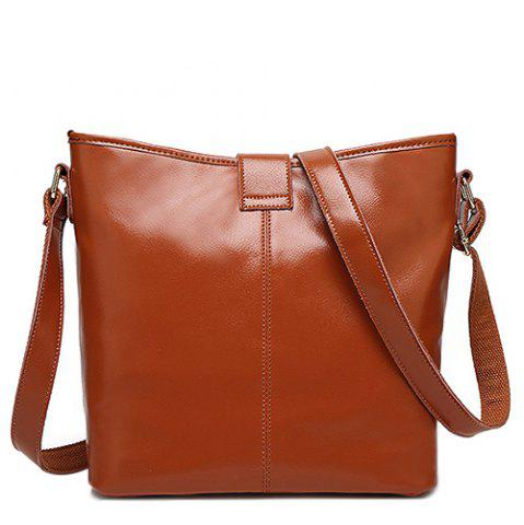 Fancy Concise Letter and Solid Color Design Crossbody Bag For Women - BROWN  Mobile