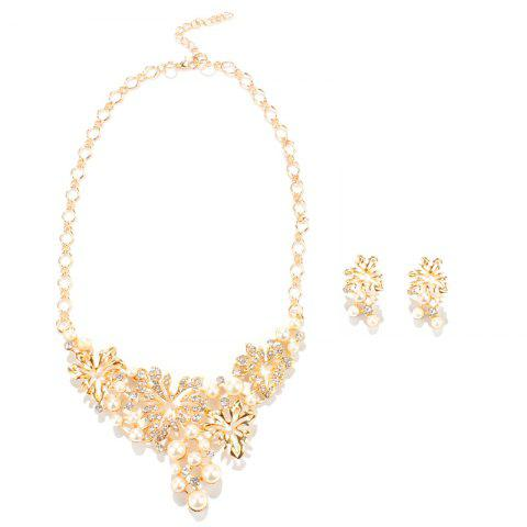 Trendy Rhinestone Faux Pearl Maple Leaf Shape Necklace and Earrings