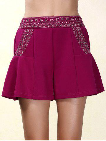 Ethnic Style Elastic Waist Loose-Fitting Embroidered Shorts For Women - Purplish Red - Xl