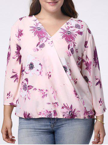 Hot Sweet V-Neck 3/4 Sleeve Floral Printed Wrapped Blouse For Women LIGHT PURPLE 5XL