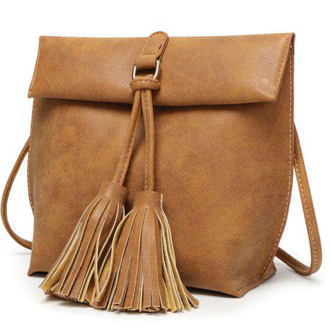 Outfits Leisure Tassels and Solid Color Design Crossbody Bag For Women
