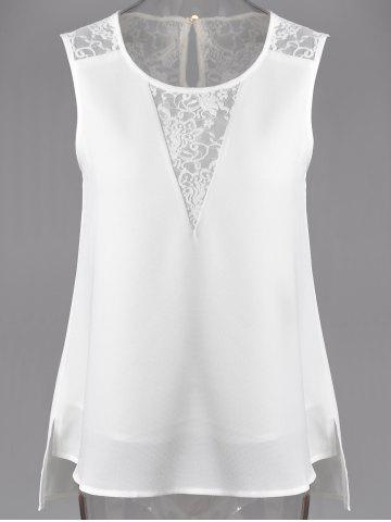 Outfits Fashionable Jewel Neck Lace Panelled Slit Top For Women WHITE M
