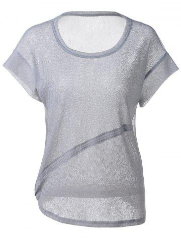 Best Fashionable Loose-Fitting Scoop Neck Cut-Off Rule T-shirt  For Women