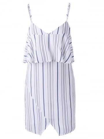 New Chic Spaghetti Strap Stripe Spliced Flounce Women's Dress STRIPE XL