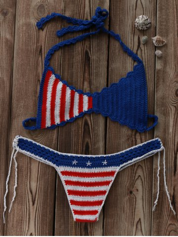 Affordable Halter American Flag Crochet Bikini Set BLUE AND RED L