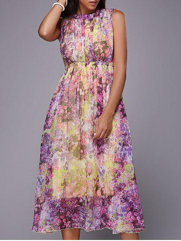 Best Sweet Sleeveless Self Tie Hollow Out Floral Dress For Women