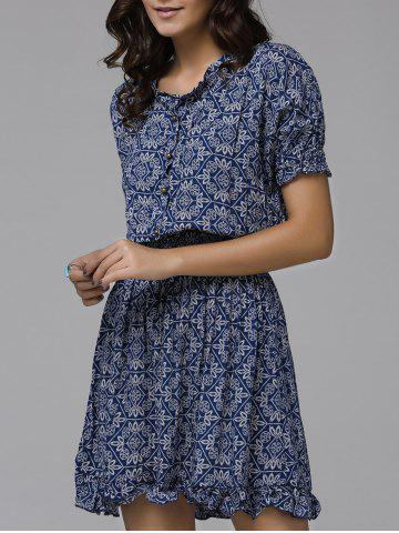 Sale Print Front Button Frilled Dress