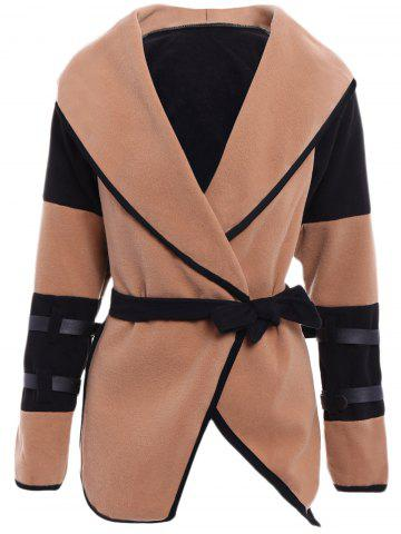 Outfits Stylish Turn-Down Collar Color Block Long Sleeve Coat For Women
