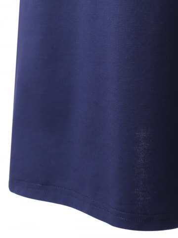 New Women's Chic Backless Sleeveless Pure Color Dress - XL PURPLISH BLUE Mobile