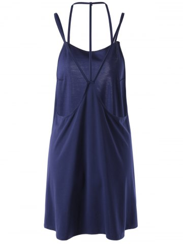 Affordable Women's Chic Backless Sleeveless Pure Color Dress - L PURPLISH BLUE Mobile