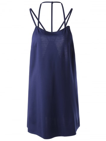 Affordable Women's Chic Backless Sleeveless Pure Color Dress PURPLISH BLUE M