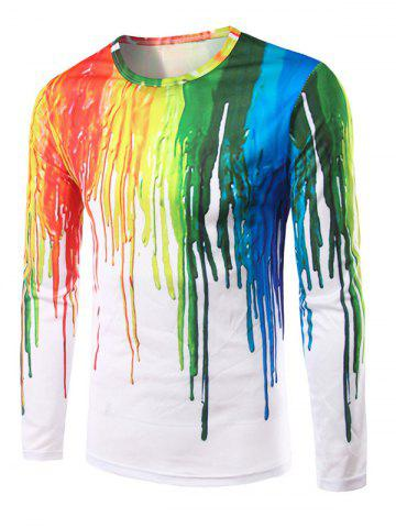 New 3D Colorful Splatter Paint Long Sleeves T-Shirt COLORMIX XL