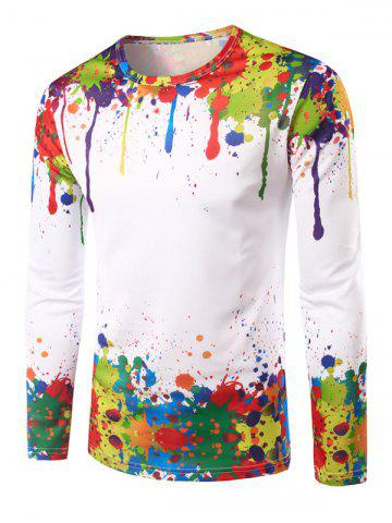 Colorful Paint Splatter Impression T-shirt manches longues Multicolore L