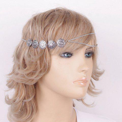 Online Ethnic Style Engraved Floral Pattern Headband For Women - SILVER  Mobile