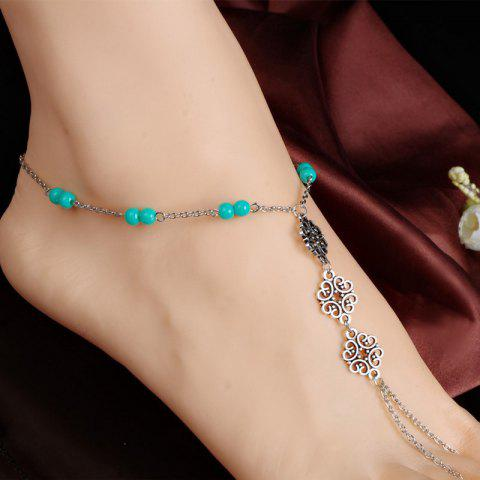Chic Retro Beads Hollow Out Floral Anklet