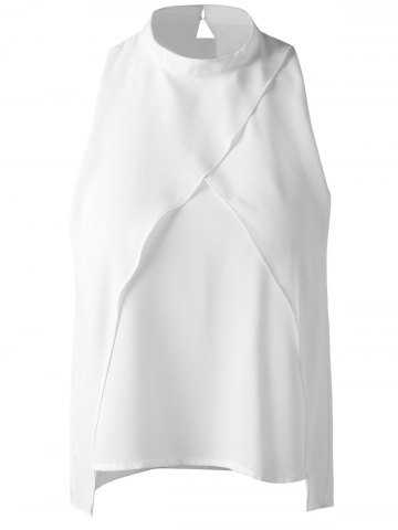 Chic Fashionable Cut-Out Stand Collar Top For Women NATURAL WHITE LIGHT XL