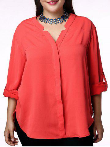 Best Elegant V-Neck Solid Color 3/4 Sleeve Plus Size Blouse For Women