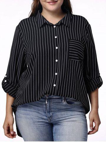 Best Casual 3/4 Sleeve Pinstriped Plus Size Shirt For Women