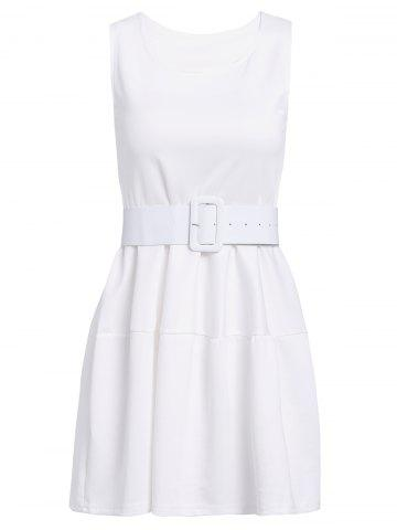 Outfits Sweet Scoop Neck Ruffles Candy Color Sleeveless Women's Dress WHITE ONE SIZE