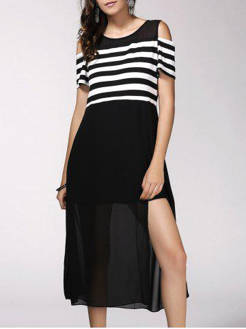 Cheap Trendy Short Sleeve Striped High Slit Hollow Out Women's Dress