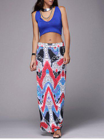 Affordable Casual Plung Neck Tank Top +  Long Zigzag Skirt Women's Twinset