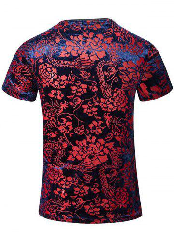 Hot Tribal Print PU Leather Spliced V-Neck Short Sleeves T-Shirt For Men - 5XL COLORMIX Mobile