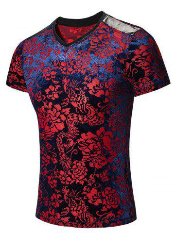 Tribal Print PU Leather Spliced V-Neck Short Sleeves T-Shirt For Men - Colormix - 4xl